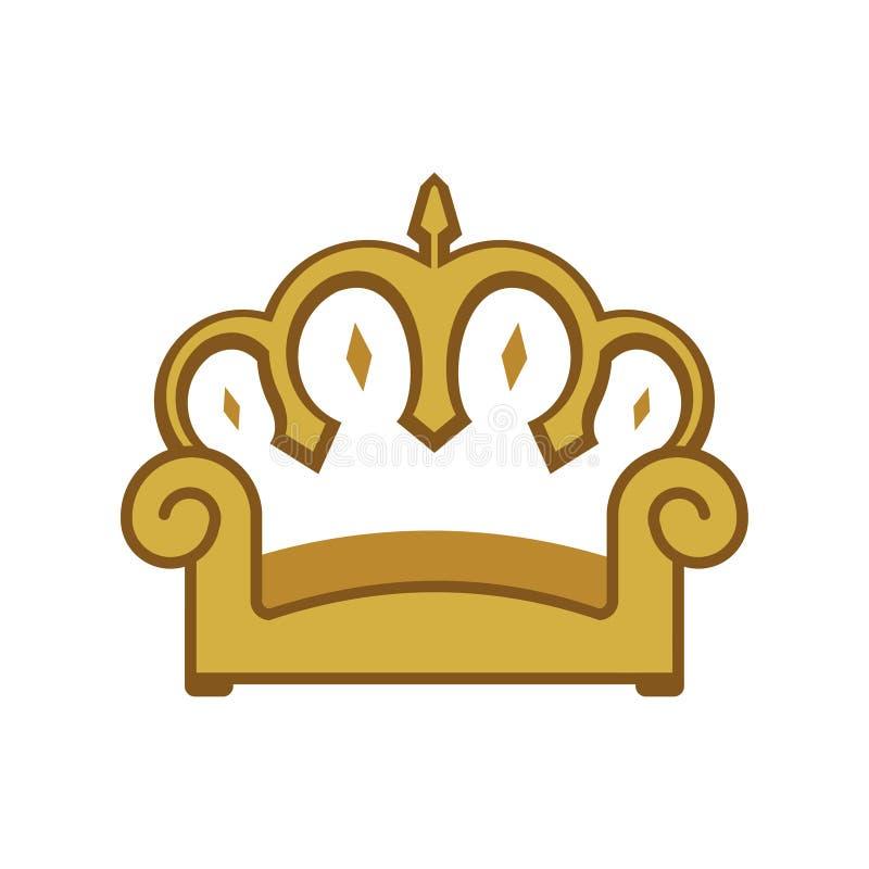 Möblemang Sofa Seat Chair för konung Crown Home Golden royaltyfri illustrationer
