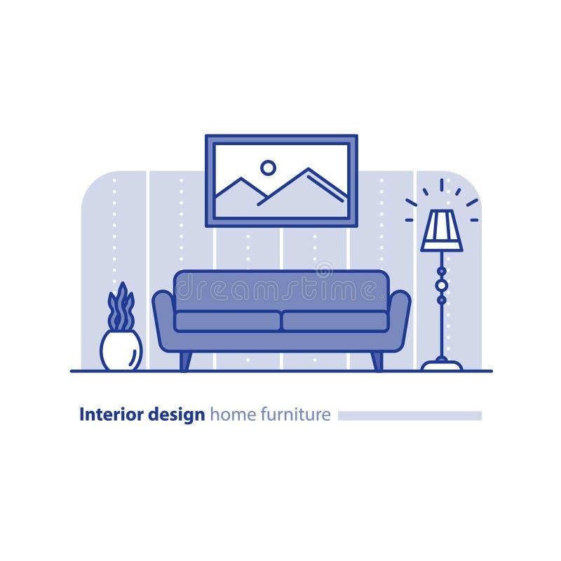 Möblemangordning i vardagsrum, enkelhetsbegrepp, bekvämt hem, modern inredesign stock illustrationer