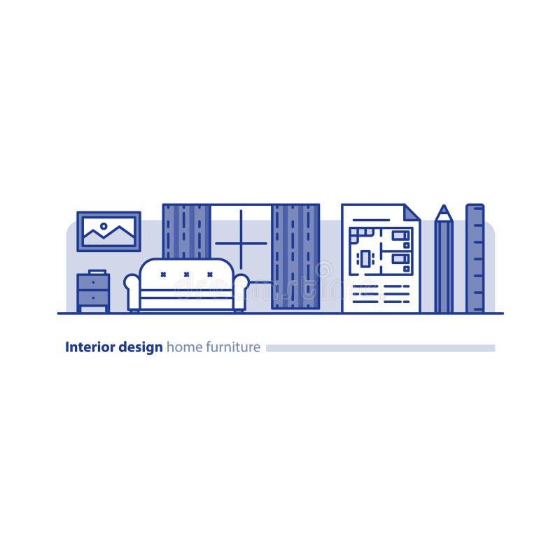 Möblemangordning i vardagsrum, enkelhetsbegrepp, bekvämt hem, modern inredesign royaltyfri illustrationer