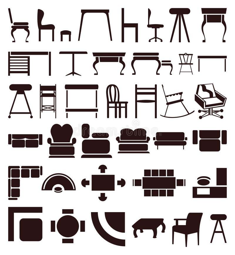 möblemangsymboler stock illustrationer