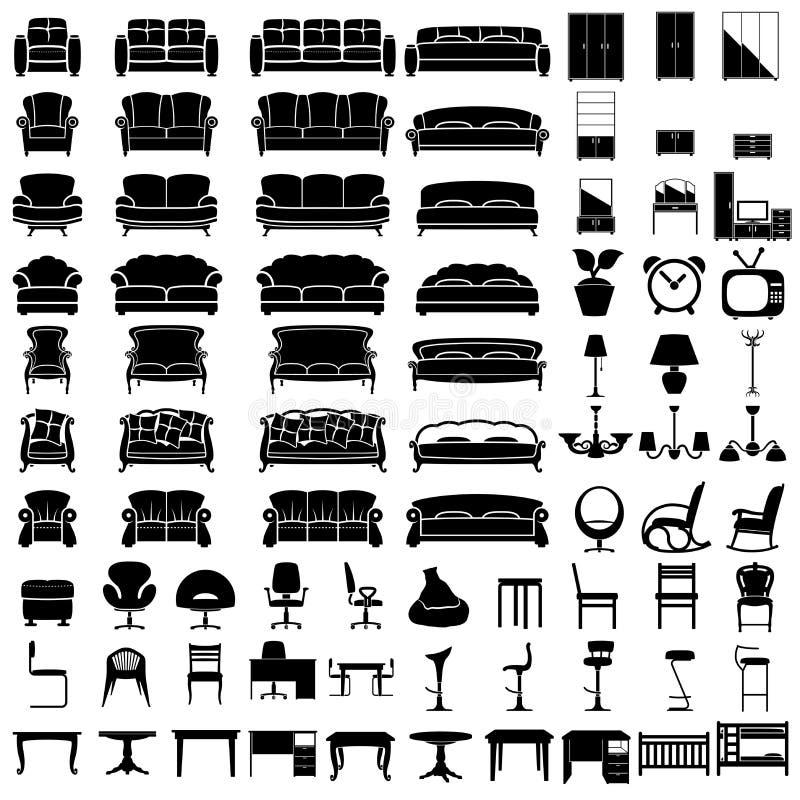 Möblemangsymboler royaltyfri illustrationer