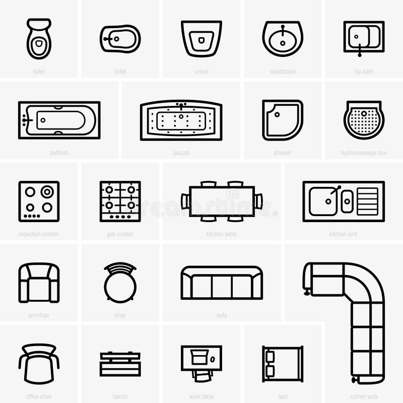 Möblemangsymboler för bästa sikt vektor illustrationer