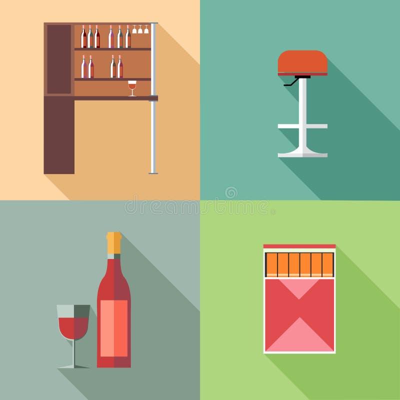 Möblemanguppsättning med vinflaskor och stol, i översikter vektor illustrationer