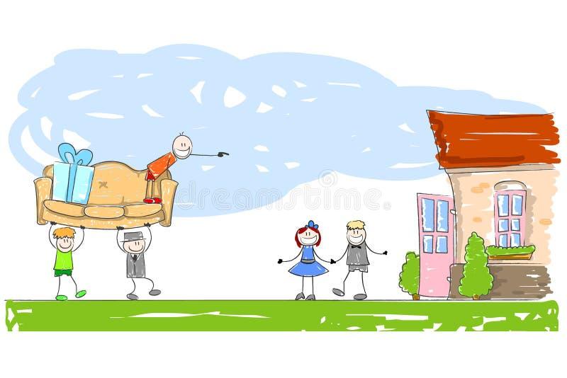 Möblera ett nytt hem royaltyfri illustrationer