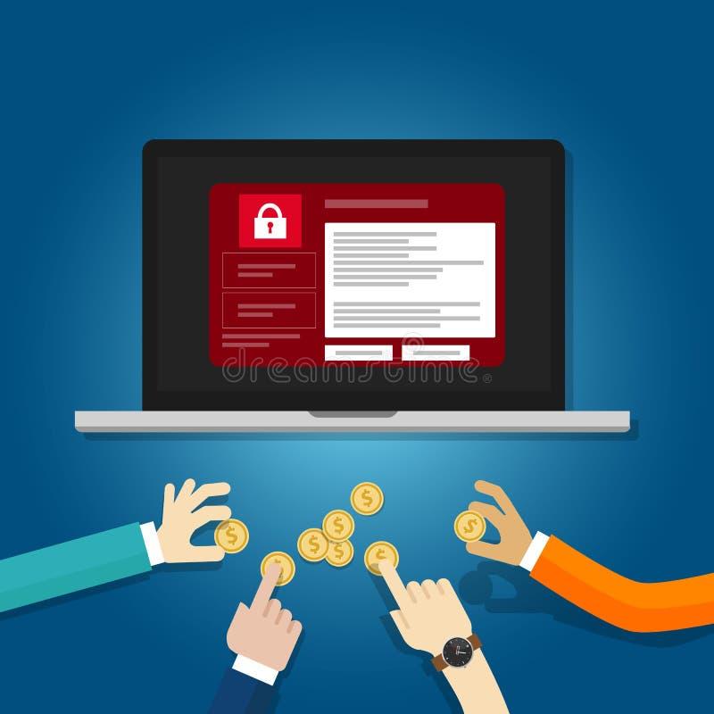 Möchten schreien Hackerschadsoftwarekonzept des Verschlussordners und um die Geldhand bitten, die zugeschlossenen Schirm des Münz stock abbildung