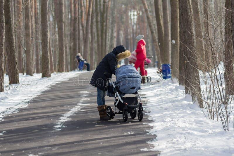 Mödrar med sittvagnar på en gå i parkera i vintern royaltyfri foto