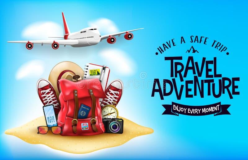 mögen realistische Einzelteile der Reise-3D Flugzeug, Rucksack, Turnschuhe, Handy, Pass und Sonnenbrille im Sand lizenzfreie abbildung