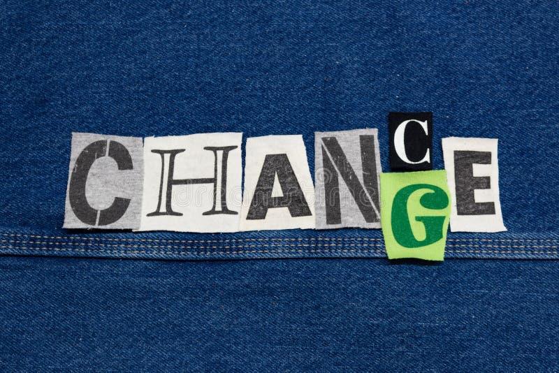 MÖGLICHKEIT - ÄNDERUNGS-Wortcollage von herausgeschnittenen T-Shirt Buchstaben, Unternehmenswachstum lizenzfreie stockfotos