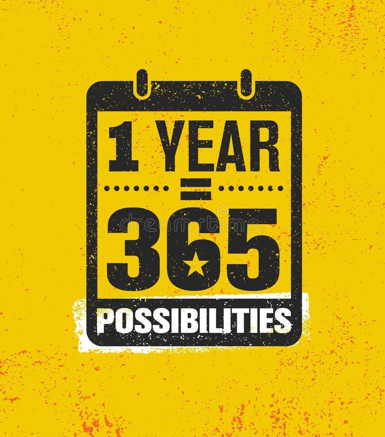 Möglichkeiten eines Jahr-Gleichgestellt-365 Anspornende kreative Motivations-Zitat-Plakat-Schablone Vektor-Typografie-Fahne vektor abbildung