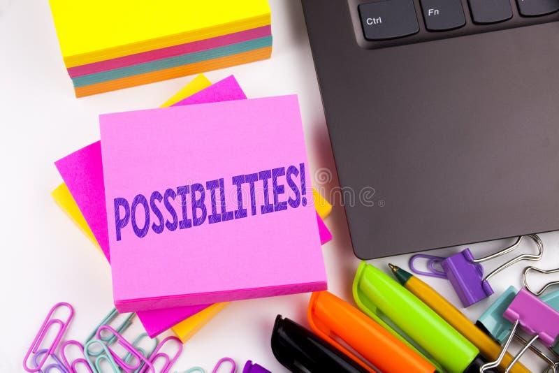 Möjligheter för handstiltextvisning som göras i kontoret med omgivning liksom bärbara datorn, markör, penna Affärsidé för Impossi royaltyfria foton