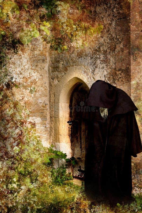 Mönch am Backdoor lizenzfreies stockfoto