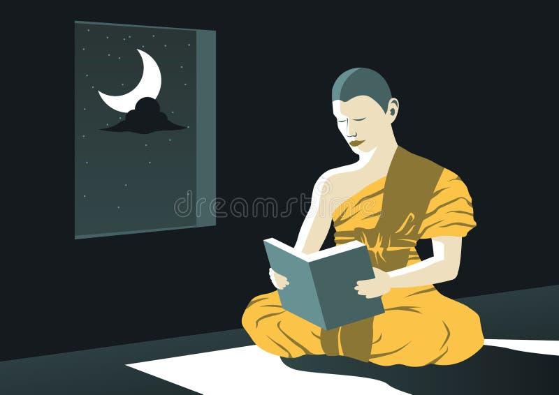 Mönch las Dharma-Buch nachts im Tempel, um Buddha zu studieren zu unterrichten, um aus, ein Programm leiden zu sollen des Prieste stock abbildung