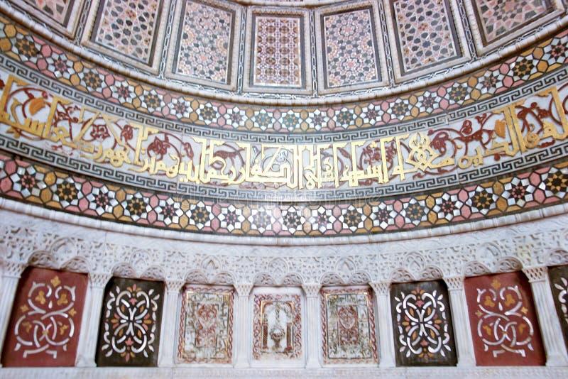 mönsan den historiska islamiska moskén för konst väggen royaltyfria bilder