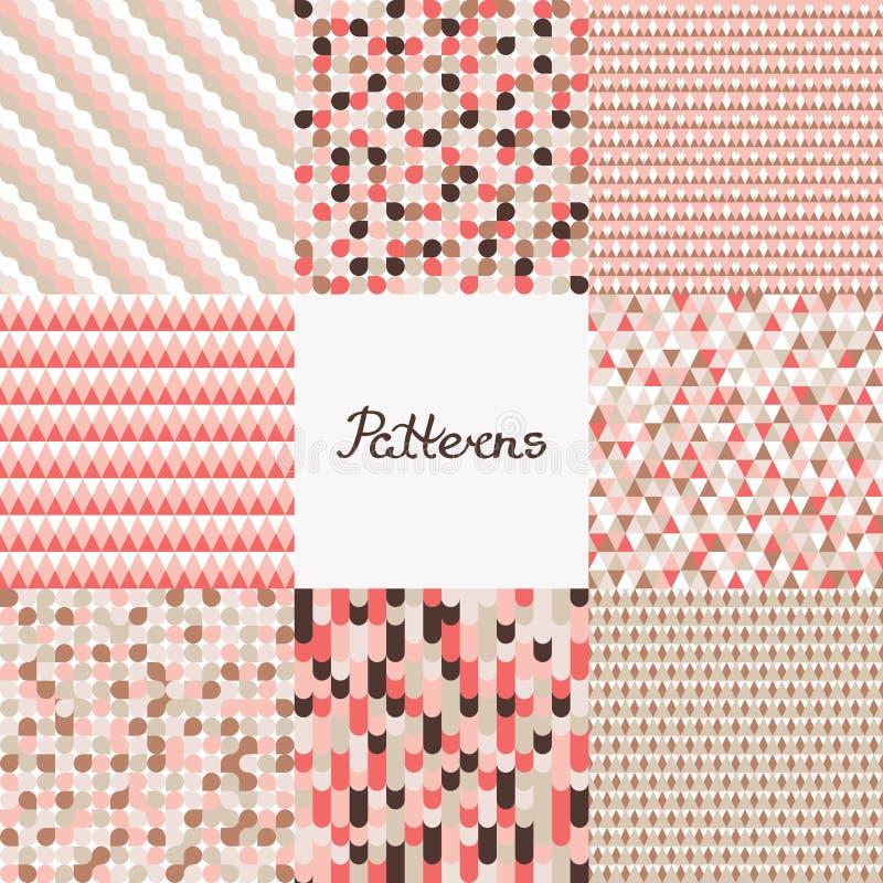 mönsan den seamless seten Geometriska bakgrunder med cirklar, vågor, trianglar i levande korall för färg Design av olika yttersid royaltyfri illustrationer