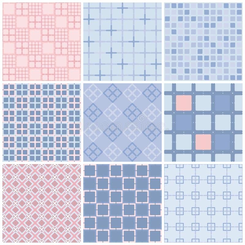 mönsan den seamless seten seamless geometrisk modell Rosa violetta färger för kvarts och för serenitet royaltyfri illustrationer