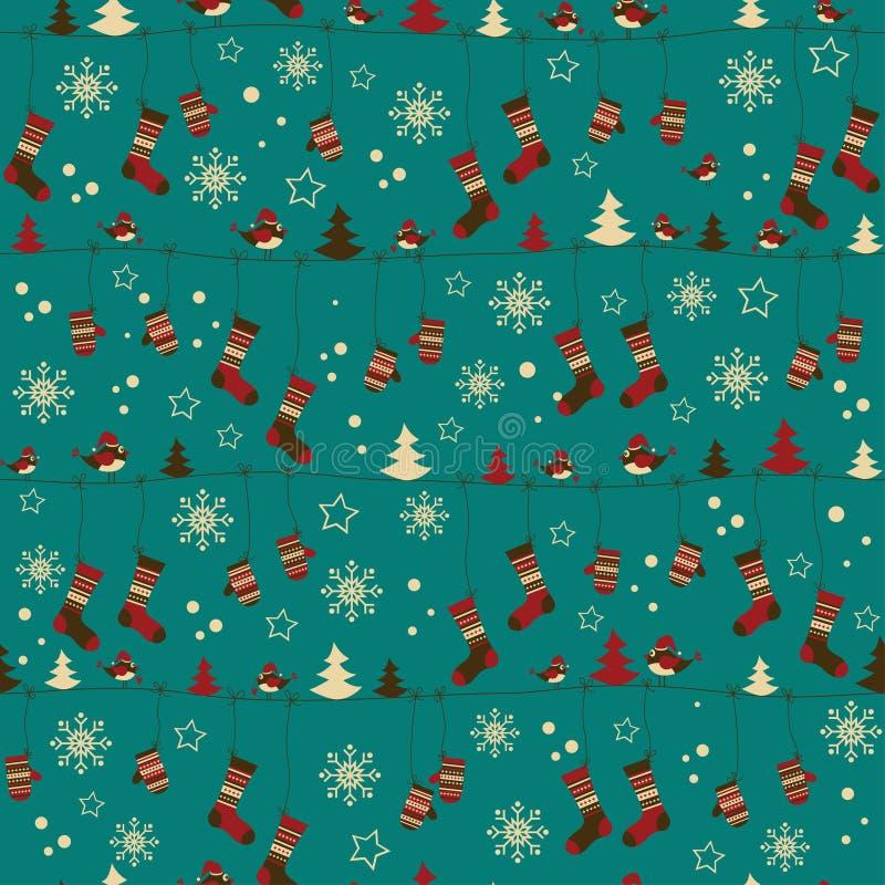 mönsan folk mittens för jul sockor stock illustrationer