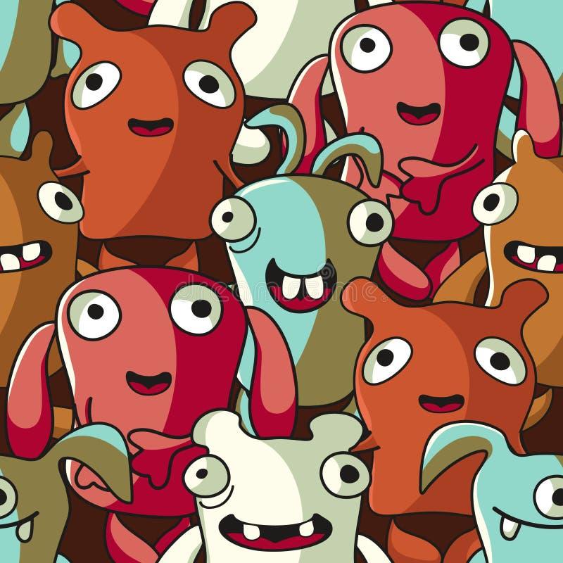 mönsan roliga monster för djur seamless royaltyfri illustrationer