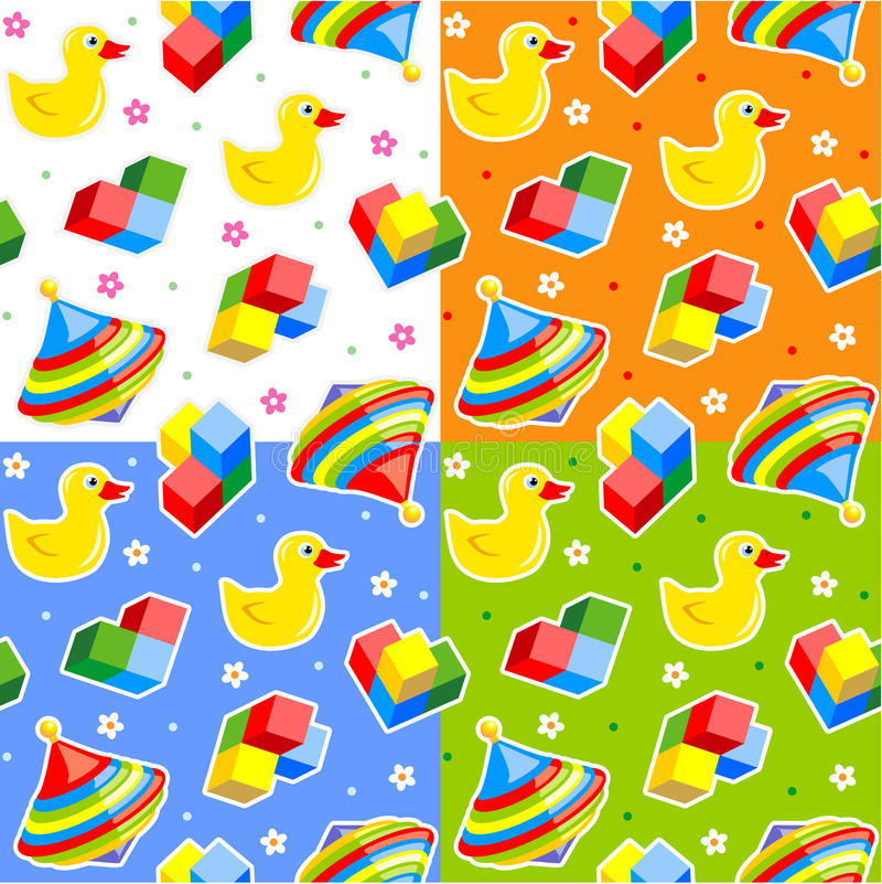 mönsan seamless toys royaltyfri illustrationer