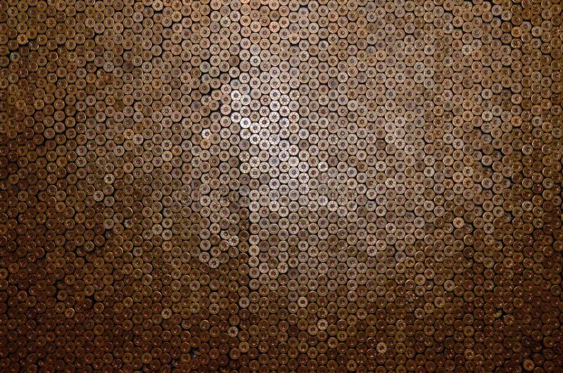 Mönster på 12-gauge patroner för hagelkulor Stängning av jaktgevär Bakgrund för skjutbana eller ammunition fotografering för bildbyråer