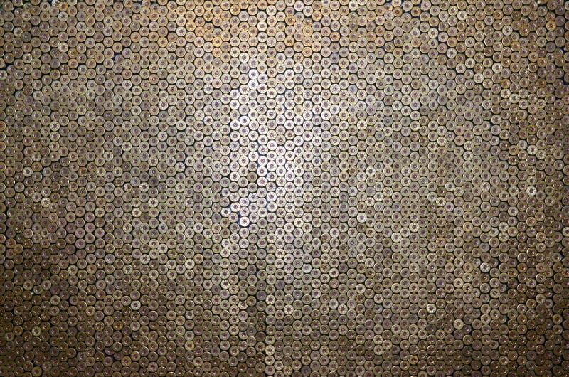 Mönster på 12-gauge patroner för hagelkulor Stängning av jaktgevär Bakgrund för skjutbana eller ammunition arkivfoto