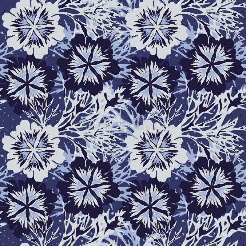 Mönster utan blommor med blått frostigt mönster stock illustrationer