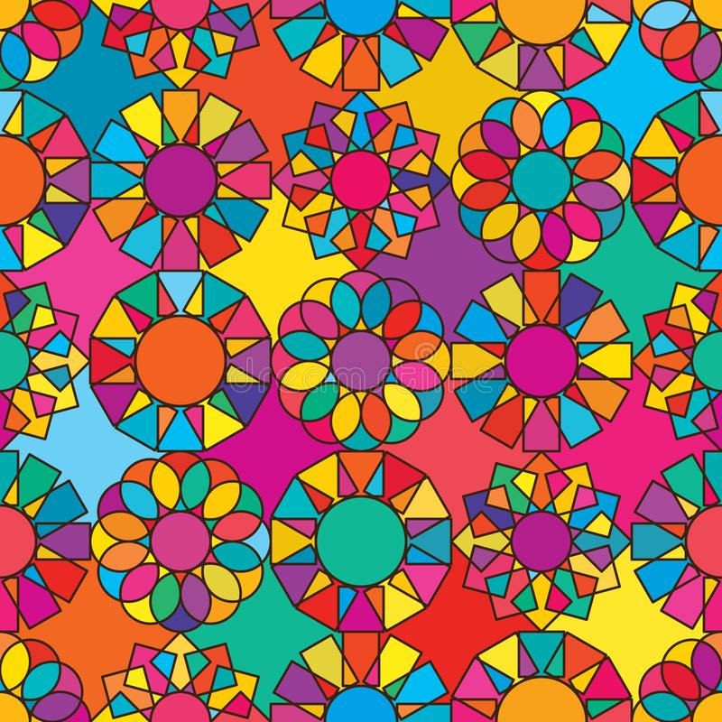 Mönsterfärglöst cirkelgeo-symmetri royaltyfri illustrationer