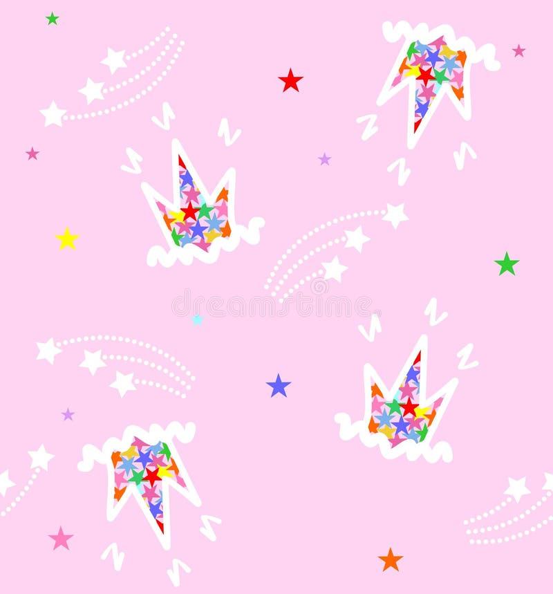 Mönstra carons och stjärnor på en rosa bakgrund royaltyfri bild