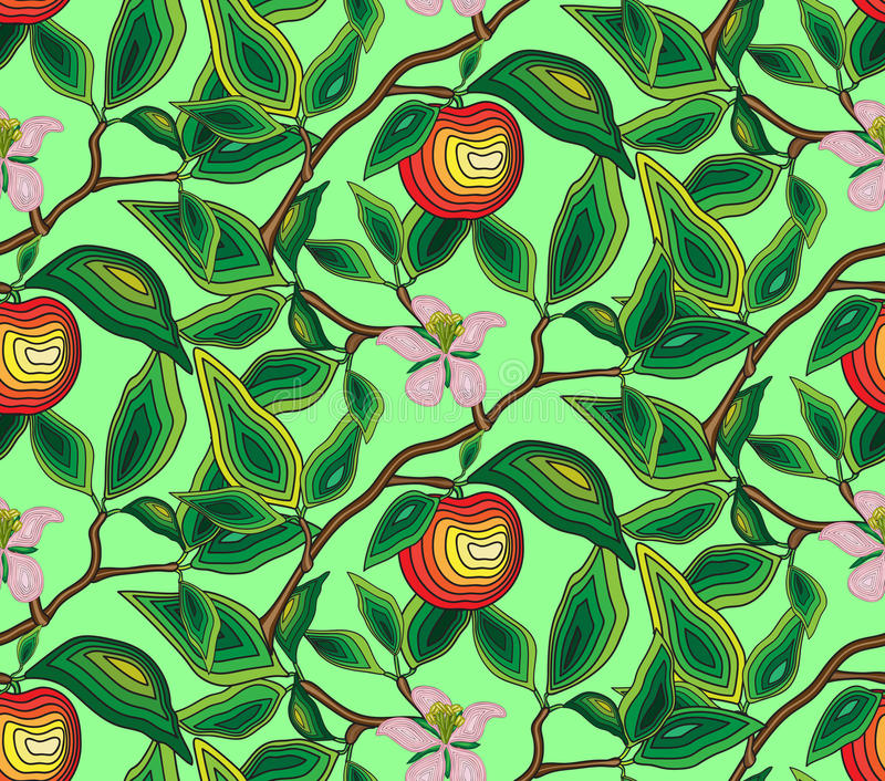 Mönstra den sömlösa filialen av ettträd med en blomma och ett äpple För tyg tapet, inpackningspapper royaltyfri illustrationer