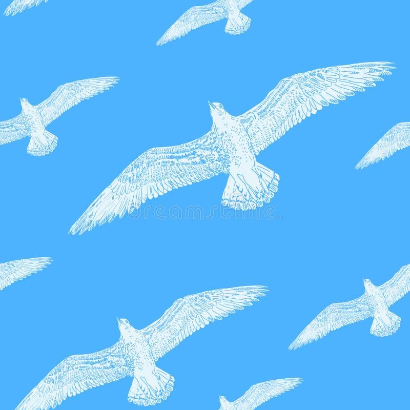Mönstra den vita seagullen för sömlös textur i himmelblåtten stock illustrationer