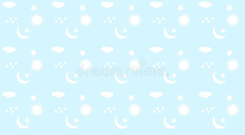 Mönstra för behandla som ett barn sängkläder Ljust - blå bakgrund med månen, stjärnor, moln och solmotiv royaltyfri illustrationer