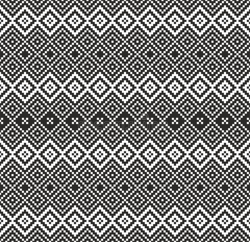 Mönstra i den svartvita sicksacken - vektor illustrationer