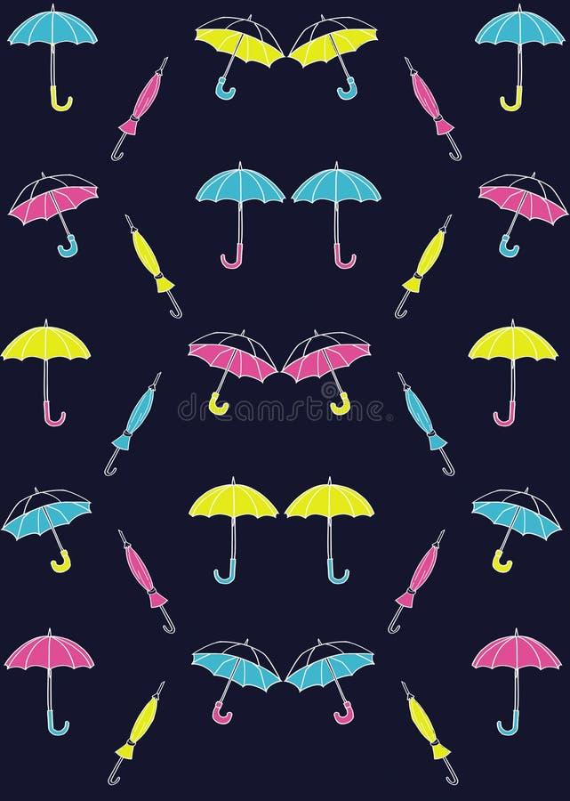 M?nstra kul?ra paraplyer p? en bl? bakgrund vektor illustrationer