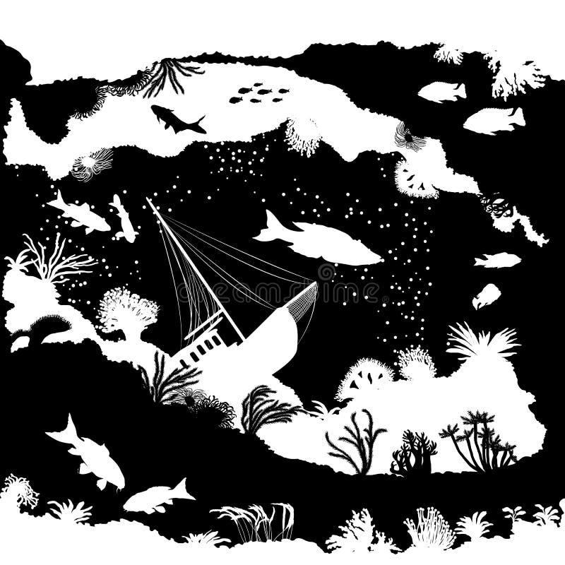 Mönstra med fisk- och korallkonturer svart white royaltyfri illustrationer