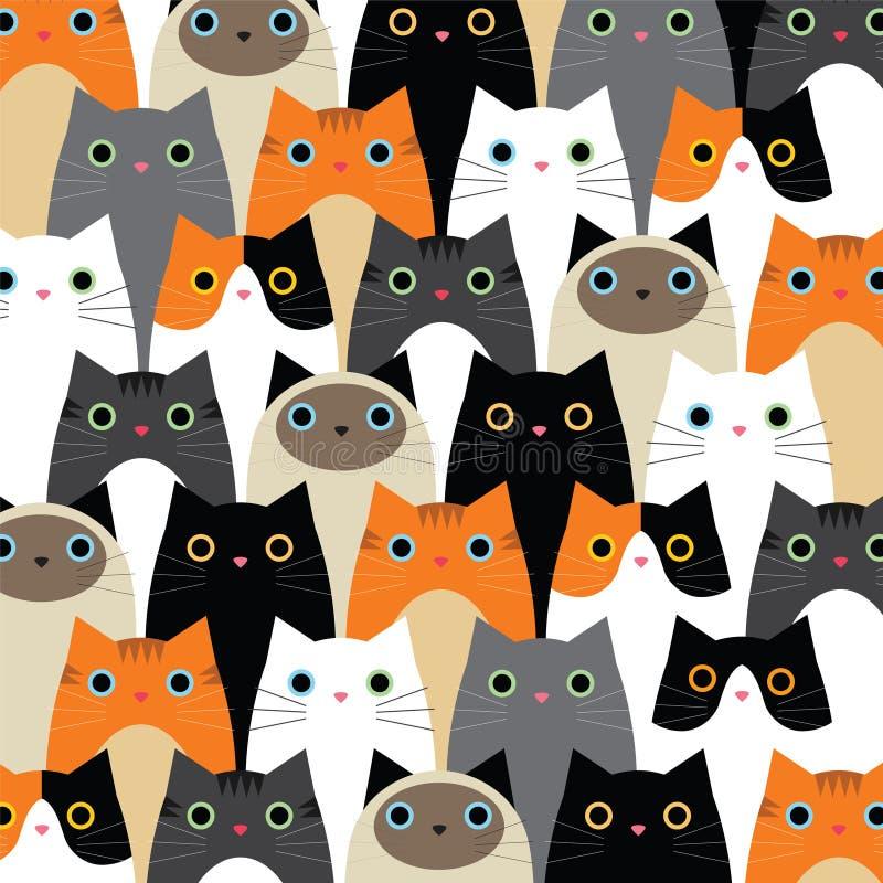 Mönstra med gullig kattidé vektor illustrationer