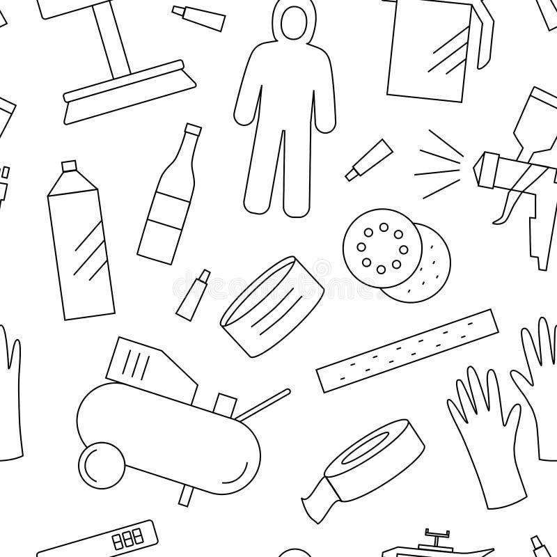 Mönstra med painter'sutrustningar vektor illustrationer