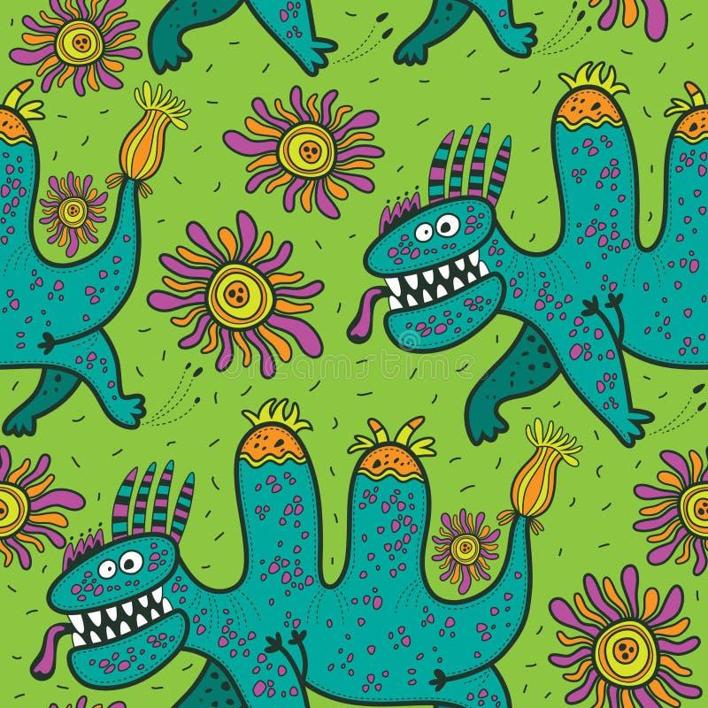 Mönstra rinnande gröna dinosaurier och blommor på en grön bakgrund stock illustrationer
