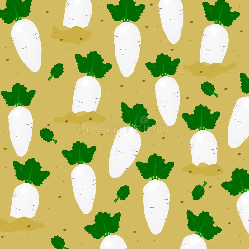 Mönstra sömlöst med den gulliga vita rädisan på fältet, grönsaktecknad filmstil, vektor royaltyfri illustrationer