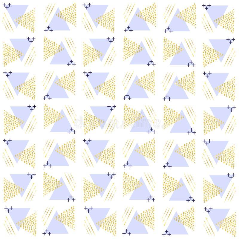 Mönstra trianglar från punkter av guld- och triangelvioletbåde remsor och pluses vektor illustrationer