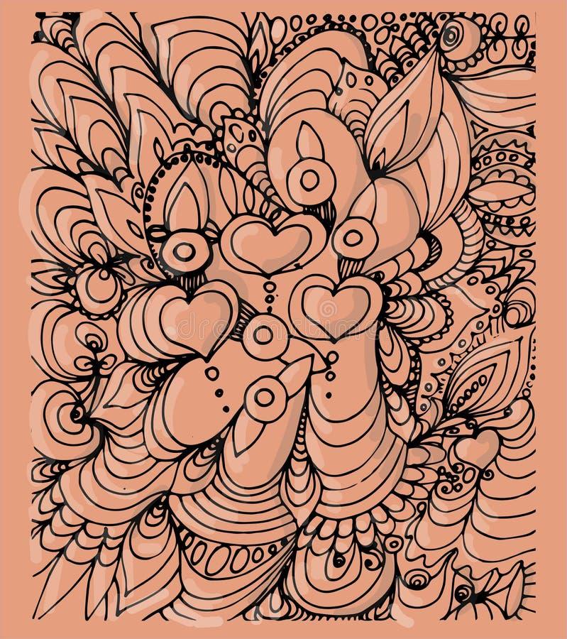 Mönstrad bakgrund med hjärtor på rosa färger royaltyfri illustrationer