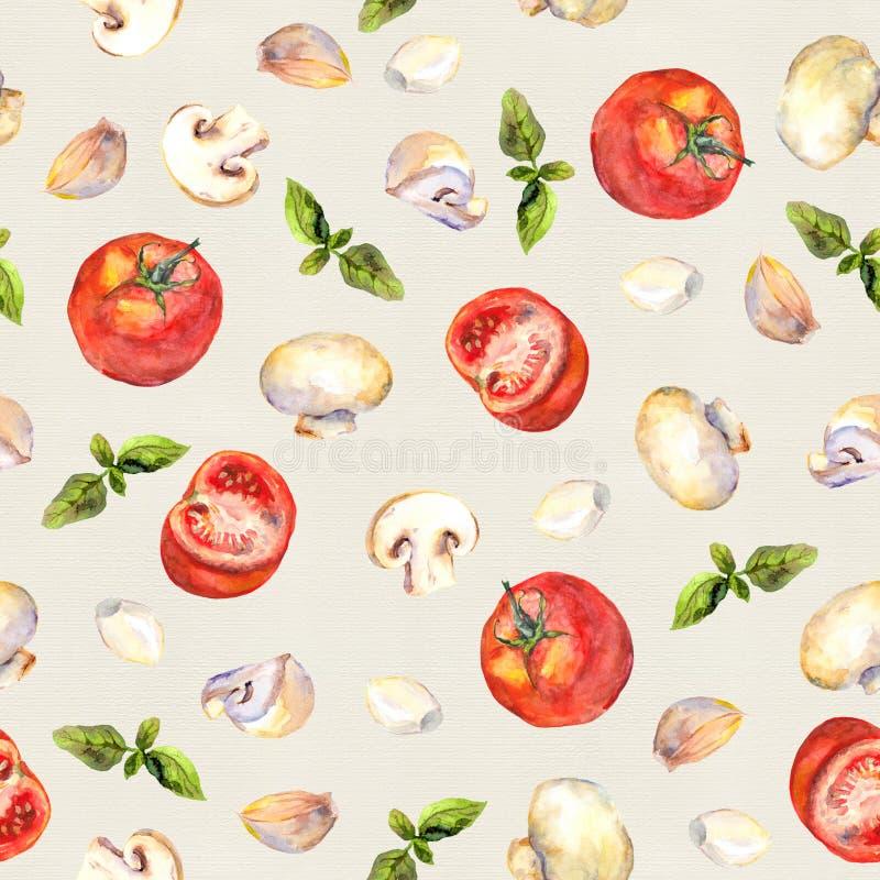 Mönstrad bakgrund med vegetariska grönsaker: tomater, champinjoner, vitlök och basilika vektor illustrationer