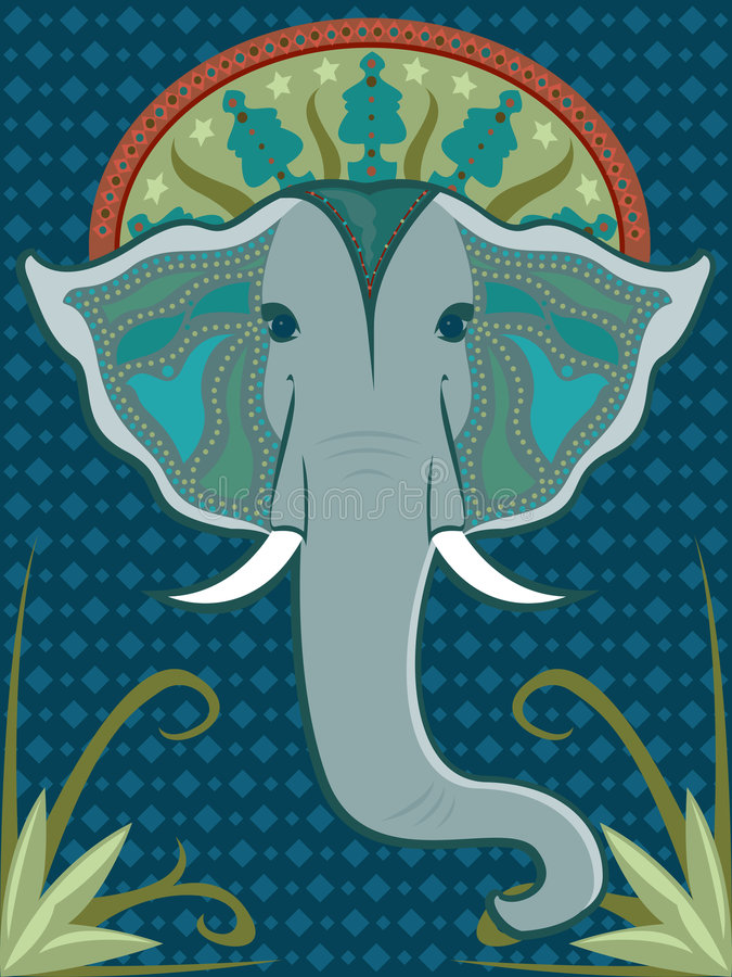 mönstrad elefant
