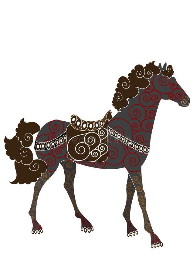 mönstrad häst royaltyfri illustrationer