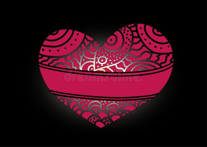 Mönstrad hjärta royaltyfri illustrationer