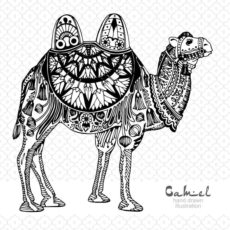mönstrad kamel stock illustrationer