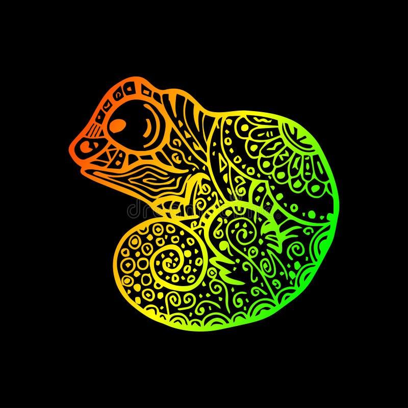 Mönstrad kameleontteckning Dragen klotterkameleont för vektor hand royaltyfri illustrationer