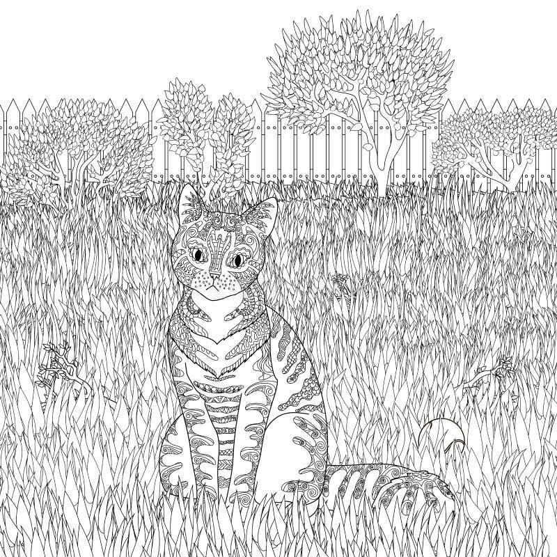 Mönstrad katt för hög detalj på detaljerad bakgrund royaltyfri illustrationer