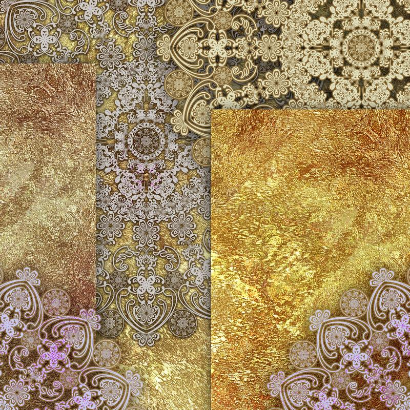 Mönstrad och guld- backgraund för abstrakt narrdräkt stock illustrationer