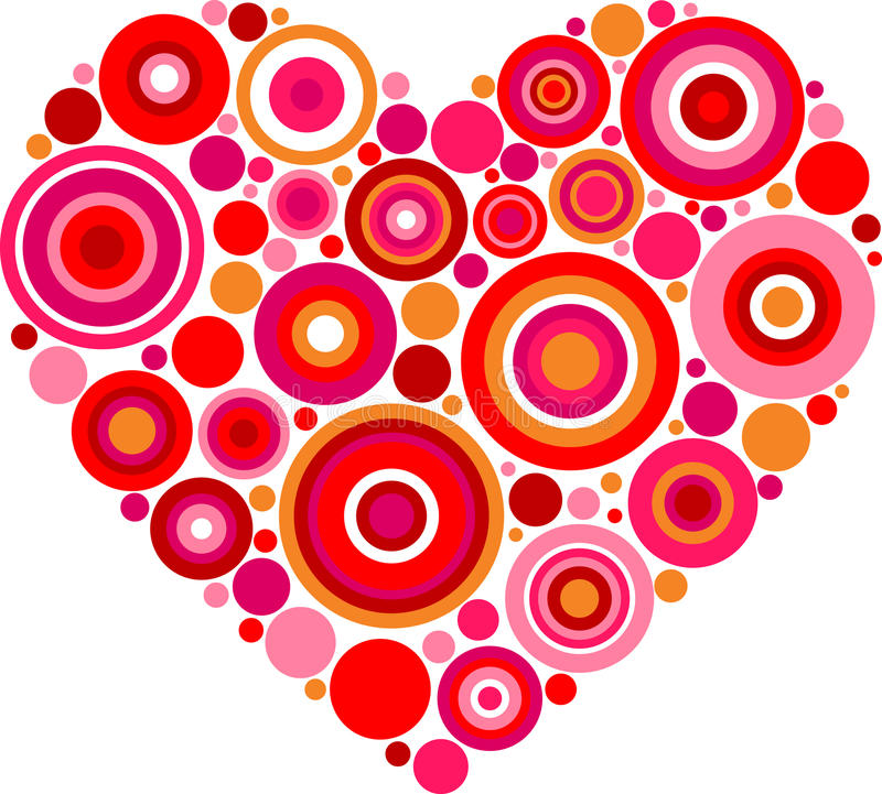 Mönstrad röd hjärta stock illustrationer