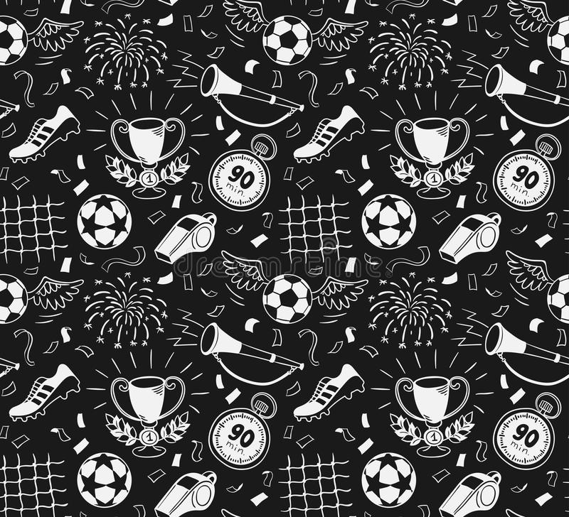 mönstrad seamless fotboll stock illustrationer