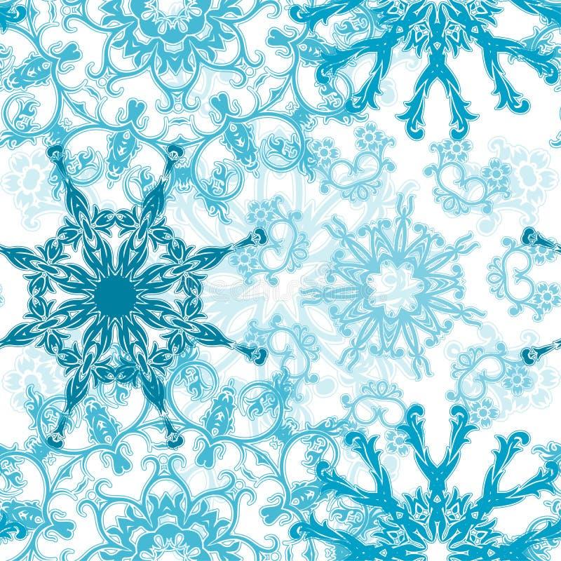 mönstrad seamless snowflakes stock illustrationer